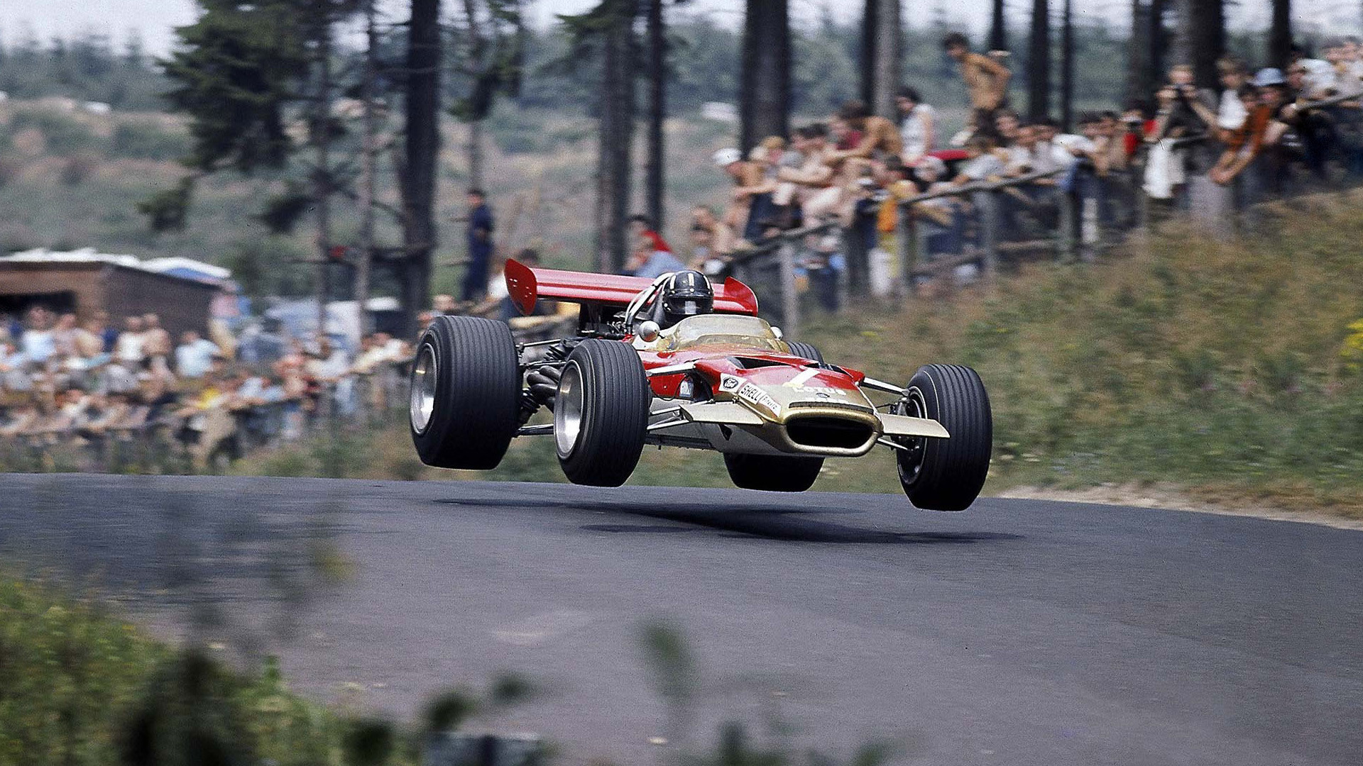 Graham Hill Flugplatz Lotus 49
