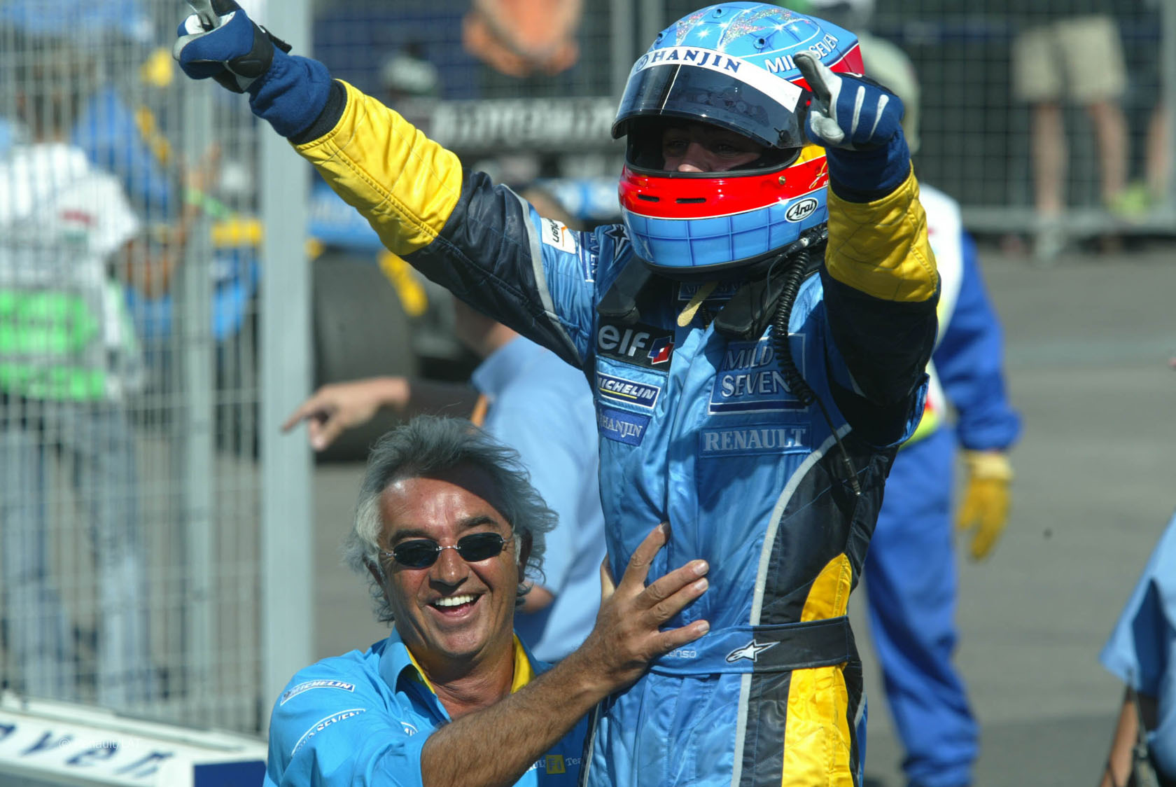 Fernando Alonso Celebración GP Hungria 2003