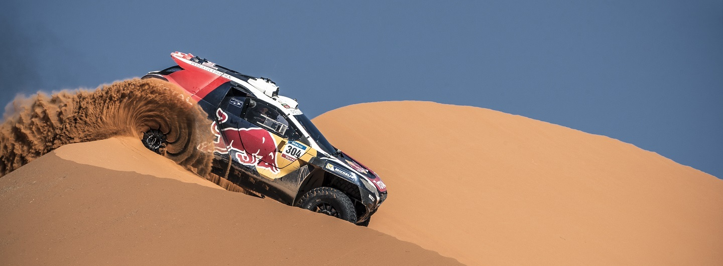 Sebastien Loeb performs during the Peugeot test in Arfoud, Morocco, on June 15th, 2015
