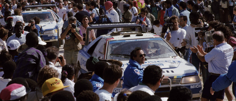 121 - Paris Dakar 1989. Peugeot 405 Turbo 16. ArrivŽe ˆ Dakar.