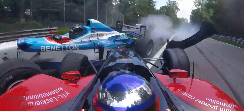 Boss GP 2016 Crash Benetton F1 vs Panoz Champcar