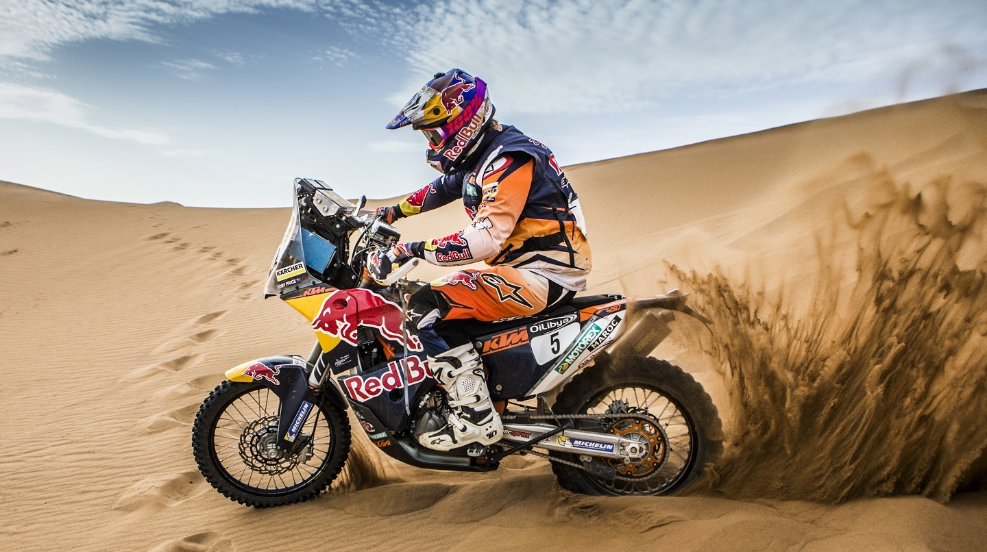 Toby Price performs during the SS3 at Oilbya Morroco Rally in Morocco , Zaghoura on 5th October