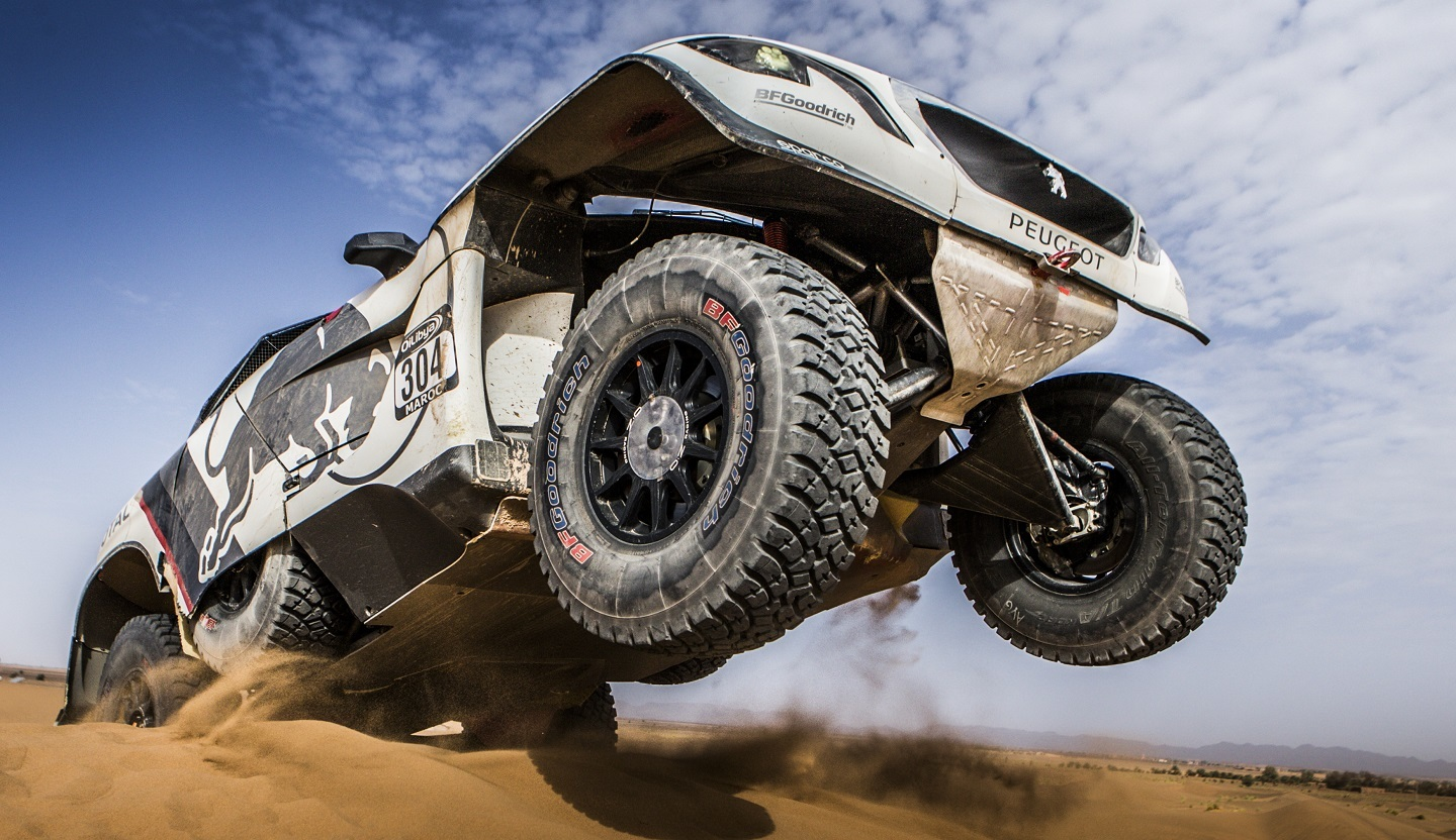 Carlos Sainz performs during the SS3 at Oilbya Morroco Rally in Morocco , Zaghoura on 5th October