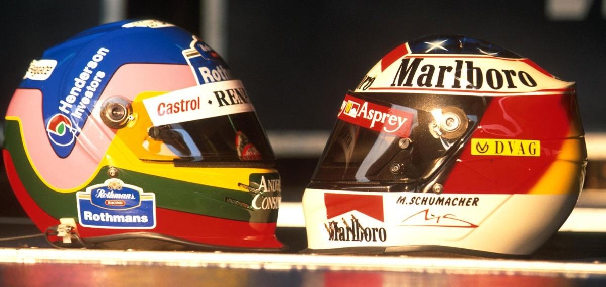 Villeneuve Schumacher Cascos 1997