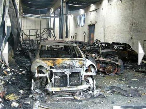 Varios Porsche destruidos en un incendio