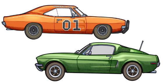 451 Illustrator dibujos hechos a mano de coches de pelcula