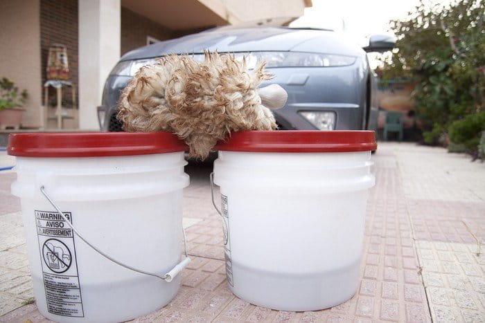Guante de lana de cordero y dos cubos, imprescindibles si quieres lavar bien a mano tu coche
