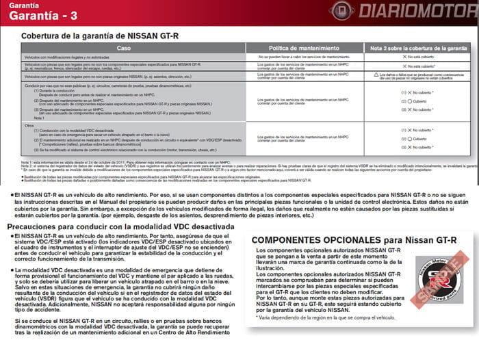 Garantía Nissan GT-R