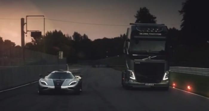 La <em>drag race</em> que no te esperabas: ¿Será más rápido un camión Volvo que un Koenigsegg One:1?