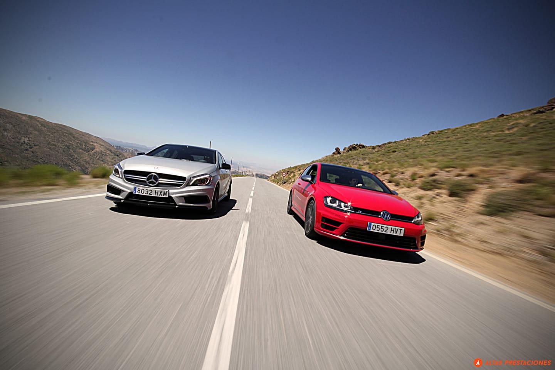 Mercedes A45 AMG y Volkswagen Golf R
