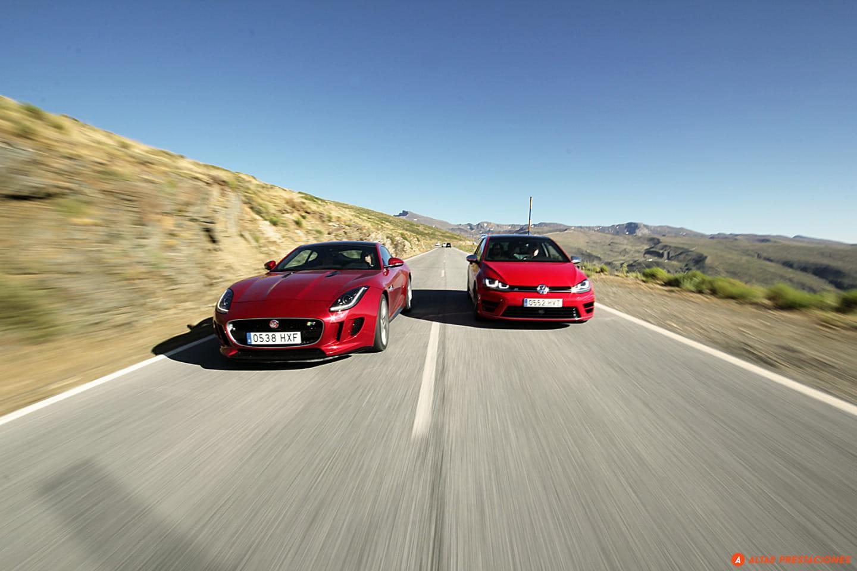 Jaguar F-Type R Coupé y Volkswagen Golf R