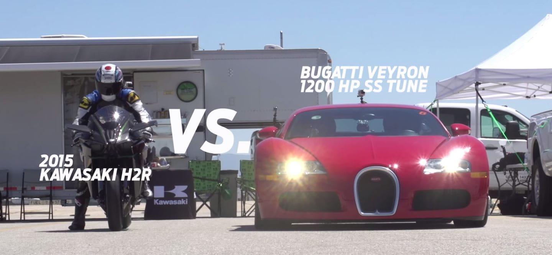 Kawasaki Ninja H2R contra Bugatti Veyron: la batalla de aceleración definitiva [vídeo]