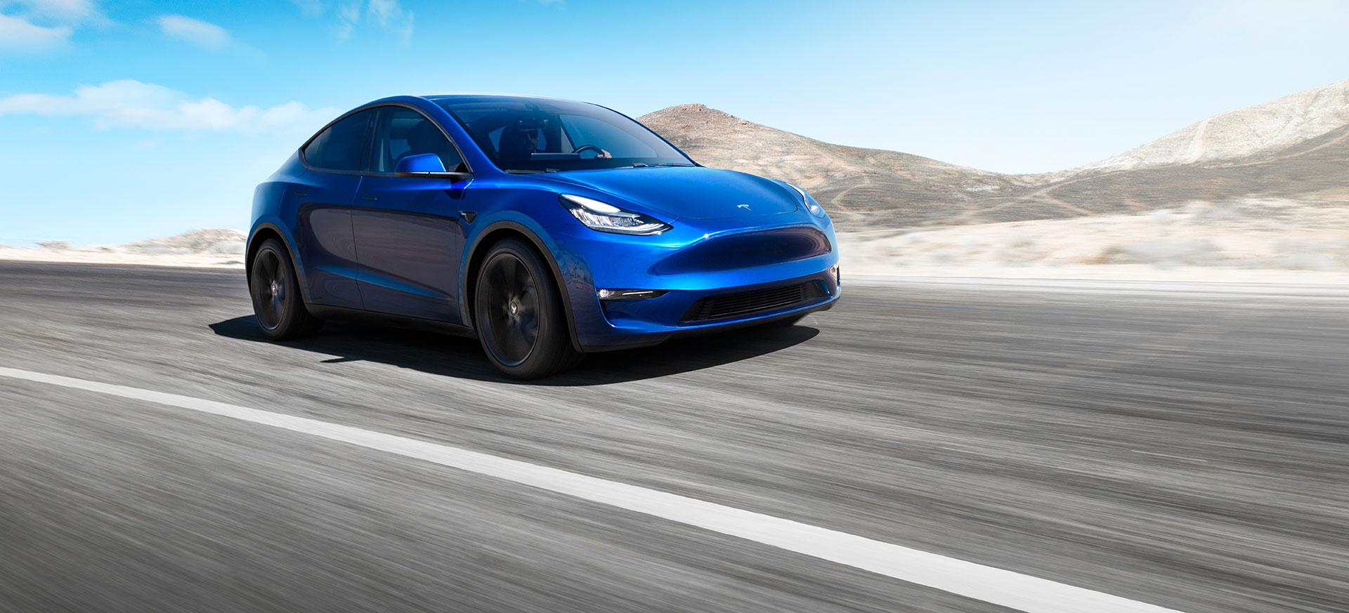 Tesla Model Y 2019 Azul Frontal Exterior