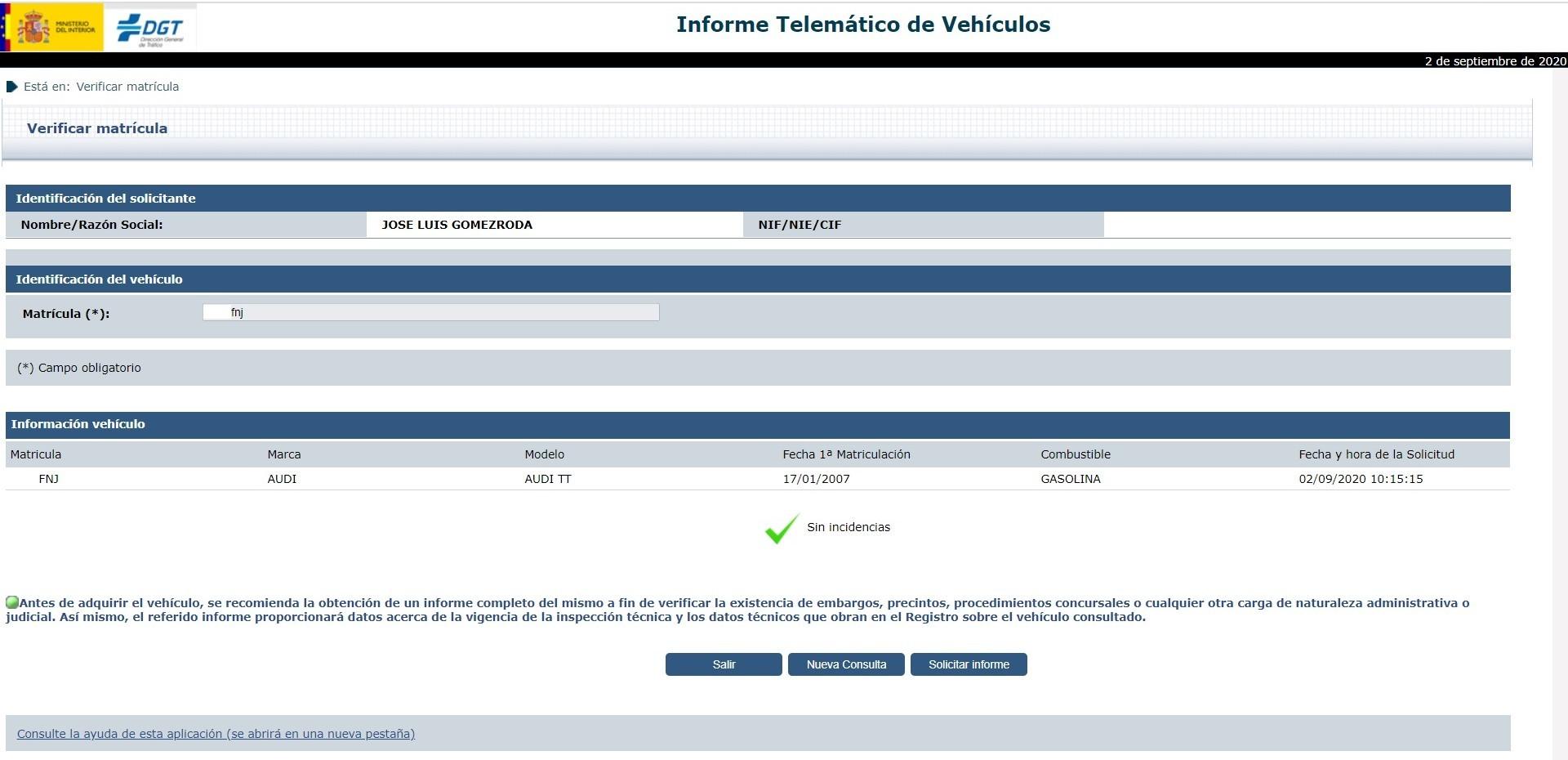 Informe Vehiculo Dgt Reducido Modelo