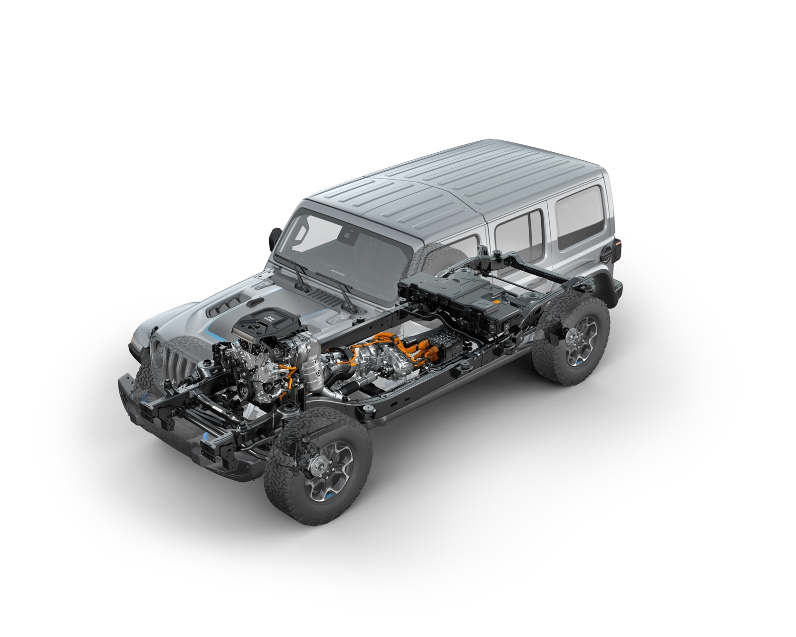 Front Three Quarters View Of The 2021 Jeep® Wrangler Rubicon 4xe