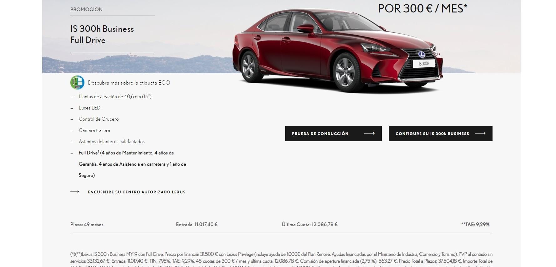 Financiar Compra Coche Nuevo Oferta Lexus Is 300h