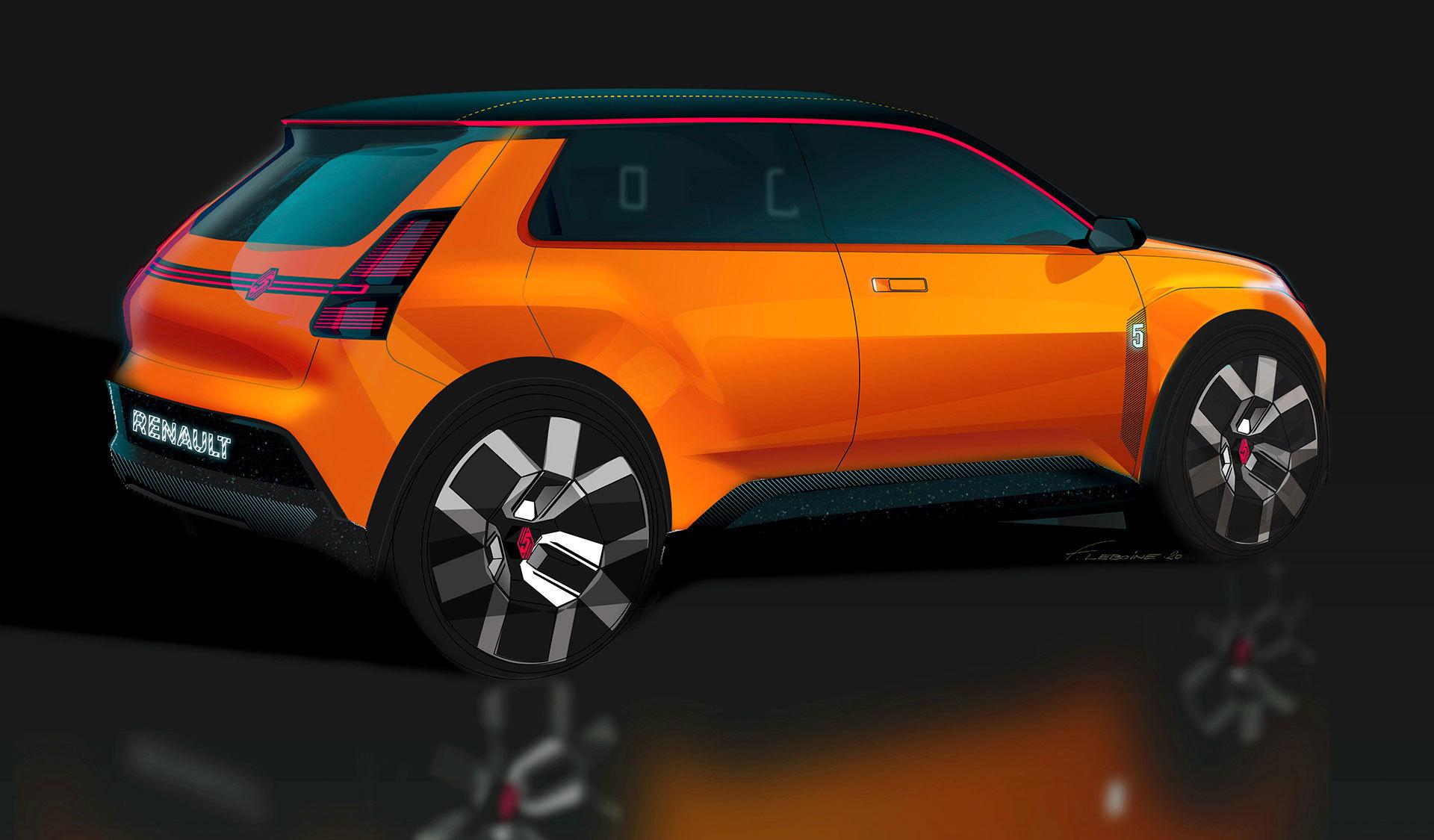 Nuevo Renault 5 Naranja Photoshop Trasera