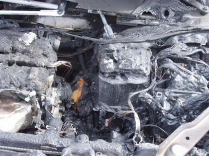 Citroën C4 quemado en Rumania
