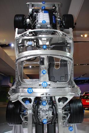 El chasis del Corvette ZR1, exposición en Detroitn