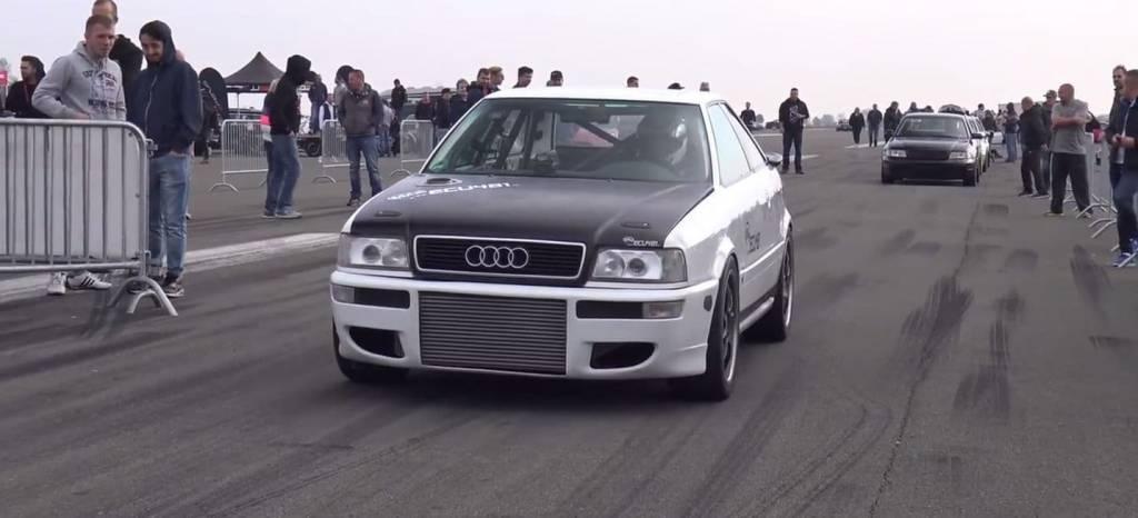 Vídeo: este Audi S2 con un motor de Volkswagen Golf R32 y 1.350 CV es un asesino de neumáticos