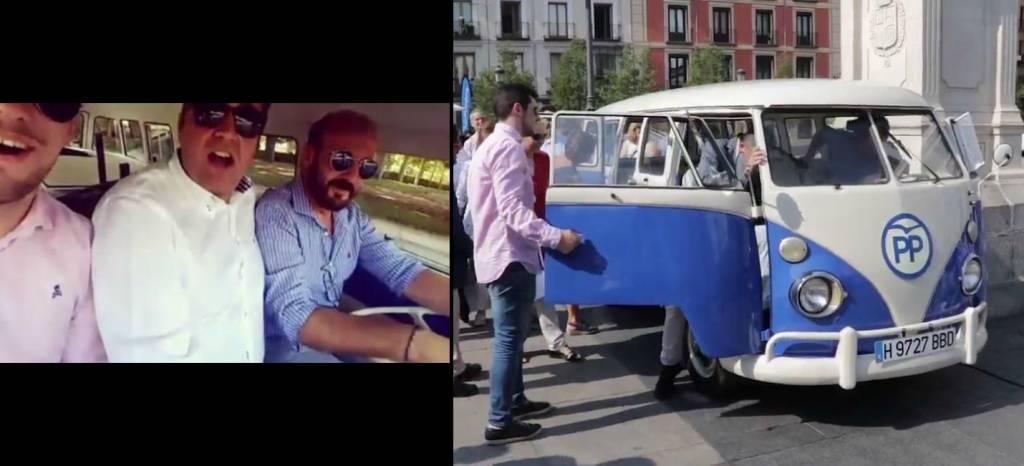"""¿De verdad es grave que tres personas sin cinturón ocupen las plazas delanteras de la furgoneta """"anti-Carmena"""" del PP?"""