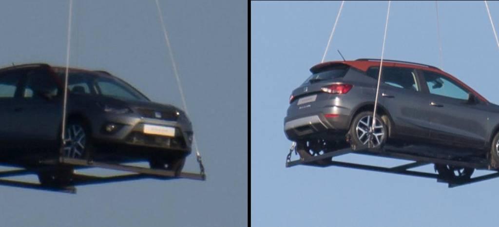 ¡Cazado! El SEAT Arona pillado por los aires, en Barcelona, remolcado por un helicóptero