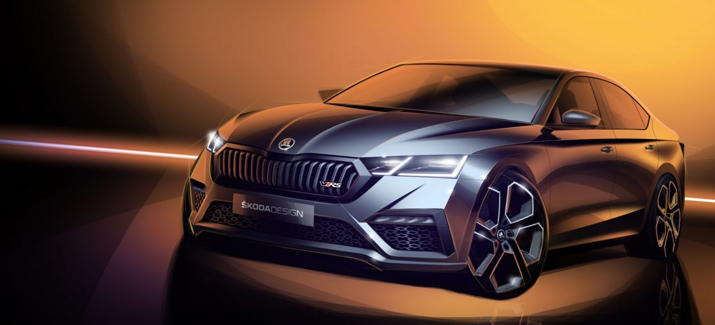 Skoda Octavia Rs 2020 Ilustracion Sedan Frontal
