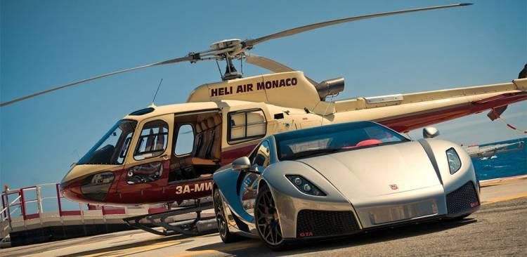 GTA Spano junto a un helicóptero