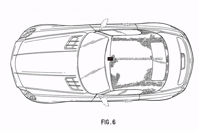 Mercedes-Benz SLS AMG Roadster, bocetos de patentes de diseño
