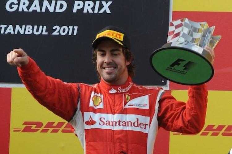 Podio de Fernando Alonso (Ferrari) - GP de Turquía 2011
