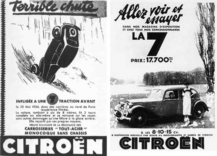 Publicidad Citroën Traction Avant - precipicio