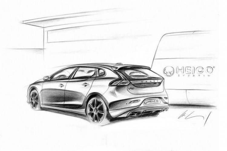 Bocetos del Volvo V40 preparado por Heico