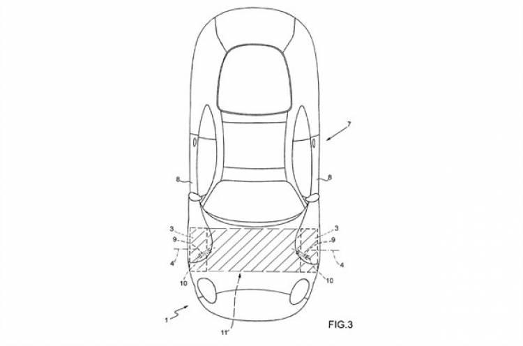 Bocetos del sistema de puertas de Ferrari