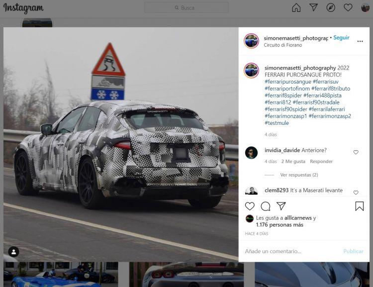 Ferrari Purosangre Suv Mula Diciembre 2020 Instagram