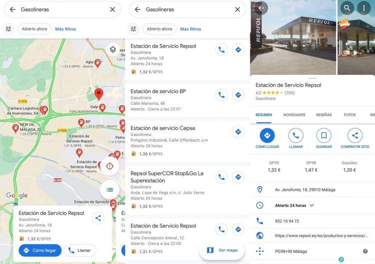 Portaltic.-Google Maps ya muestra el precio de la gasolina en España