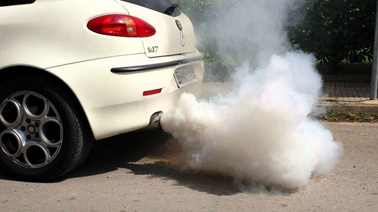 Humo Blanco Escape Coche