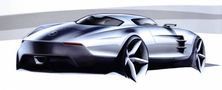 Mercedes SLS AMG, bocetos e interior