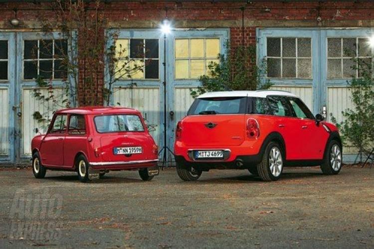 El Morris Mini Minor original frente al Mini Countryman, David y Goliat