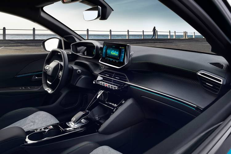 Peugeot E 208 2019 Azul Interior 06