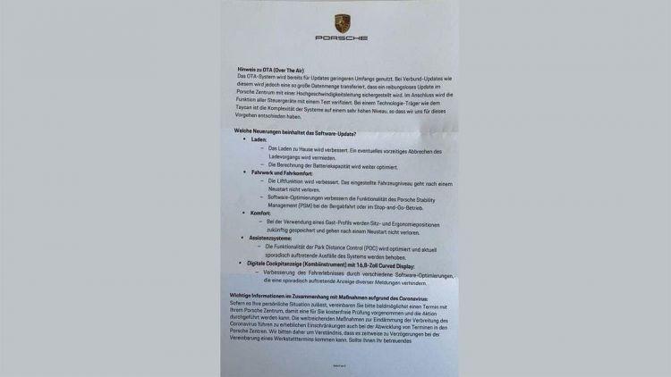 Porsche Taycan Actualizacion Taller Carta