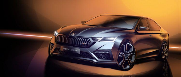 Skoda Octavia Rs 2020 Ilustracion Sedan Frontal