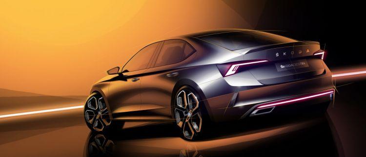 Skoda Octavia Rs 2020 Ilustracion Sedan Trasera