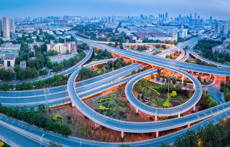 aerial view of city interchange in tianjin