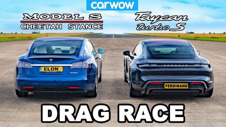 Tesla Model S Porsche Taycan Turbo S Drag Race 0820 01