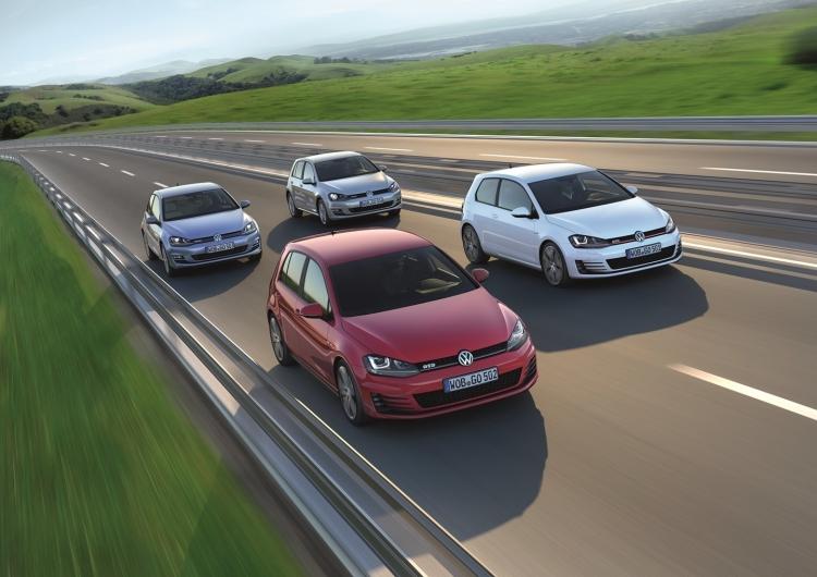 Volkswagen Golf TDI BlueMotion links Volkswagen Golf TGI BlueMotion Mitte oben Volkswagen Golf GTD Mitte unten Volkswagen Golf GTI rechts