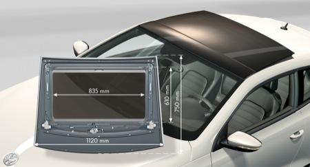 Volkswagen Scirocco, diagrama del techo solar
