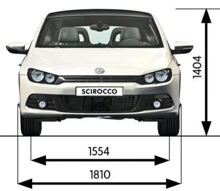 Volkswagen Scirocco, vista de medidas frontal