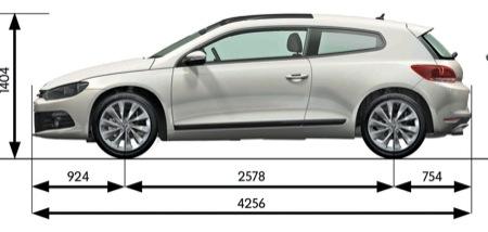 Volkswagen Scirocco, vista de medidas lateral