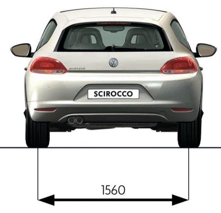 Volkswagen Scirocco, vista de medidas trasera