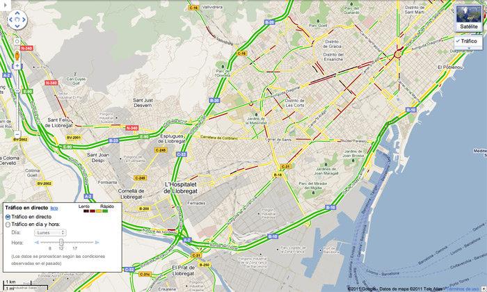 Tráfico en vivo en Barcelona con Google Maps